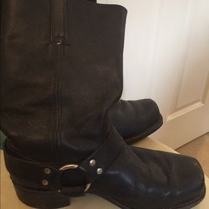 Frye black leather Harness Boots
